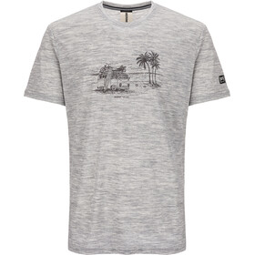 super.natural Graphic T-Shirt Heren, ash melange/killer khaki beach print